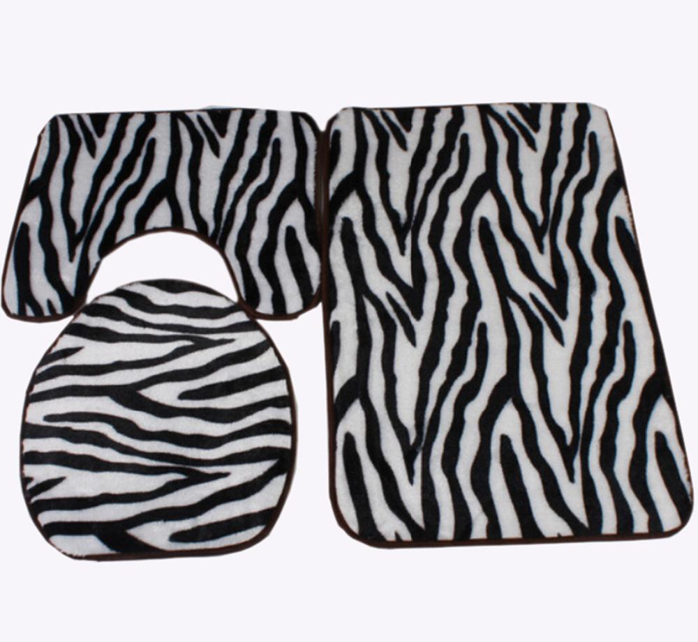 Zebra Print Black and White Bath Mat Toilet Rug Set 3 ...