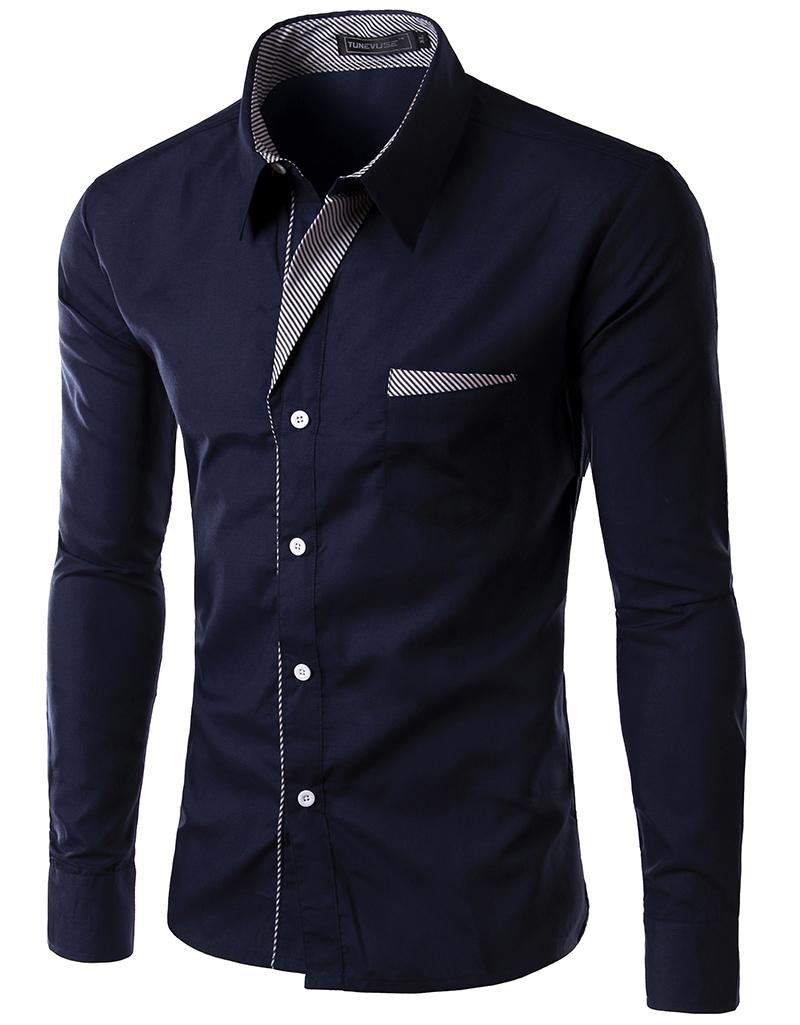Men's Slim Luxury Stylish Casual Shirts Long Sleeve shirts ...