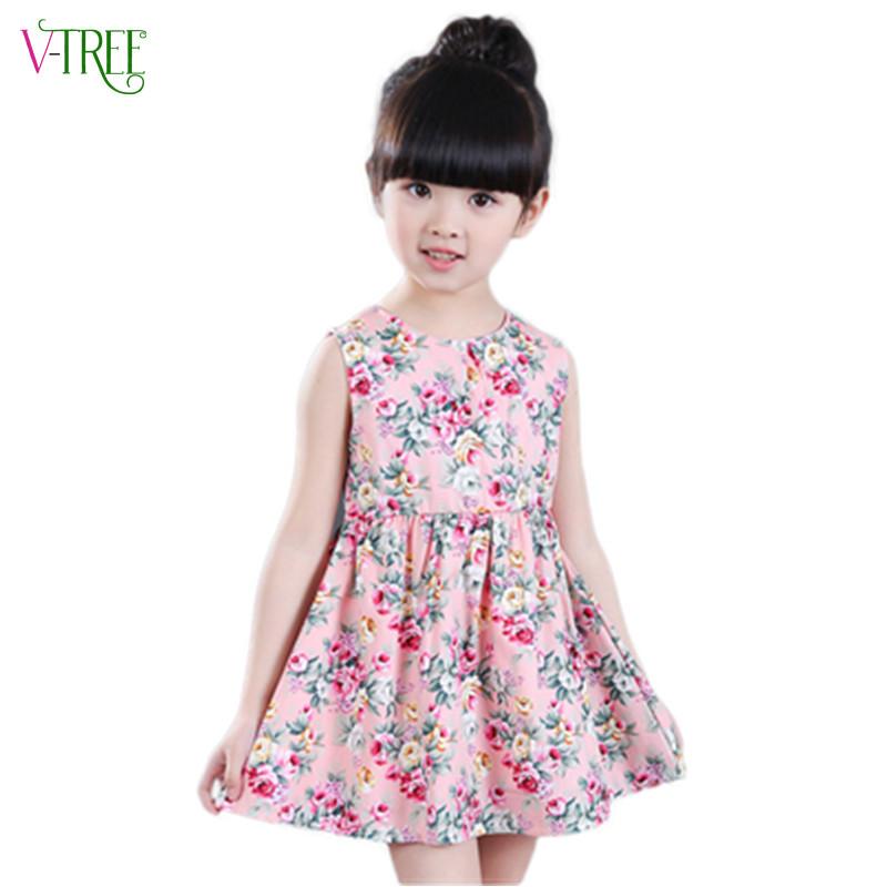 2016 summer girls font b dress b font cotton sleeveless flower font b dress b font