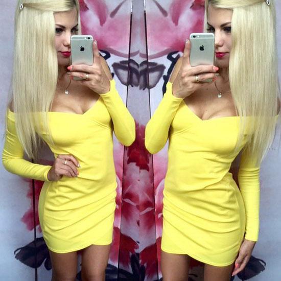 Платье футляр с v-образным вырезом выше колена полный, бренд женщины sleevesolid естественная - длина сексуальный