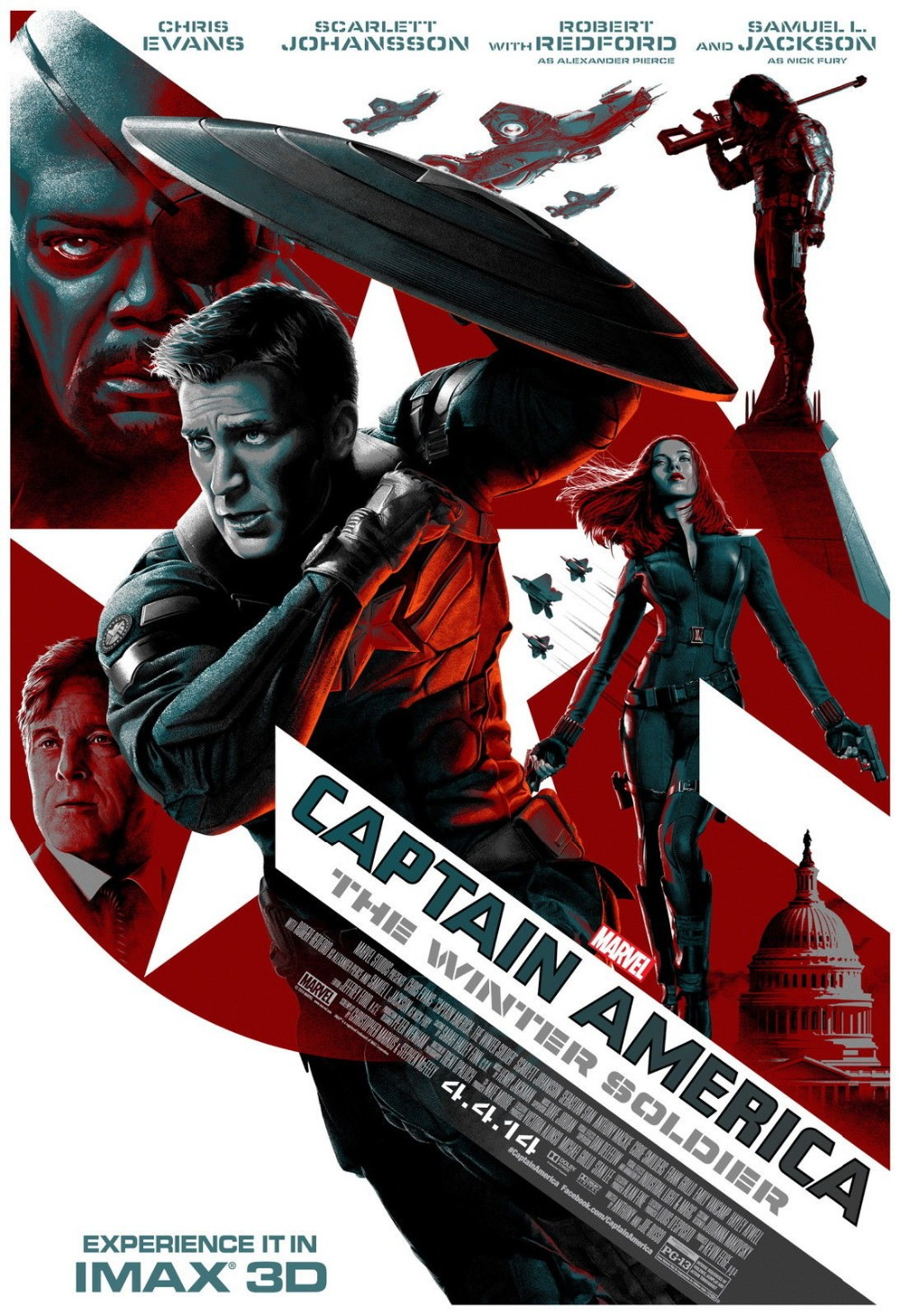 Captain America The Winter Soldier Imax Hi Res Movie Poster Print on Silk Wall Home Decoration 12x18 24X36 inch