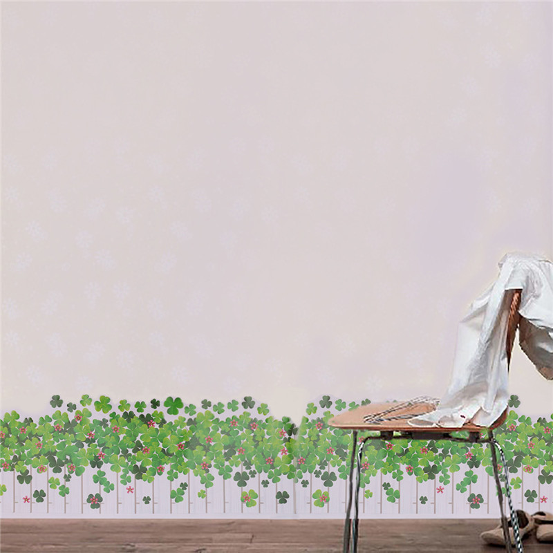 Cute Style Warm Romantic Clover Butterfly Skirting Line DIY Wall Stickers Mural Decal Home Decoration Wallpaper Small Size