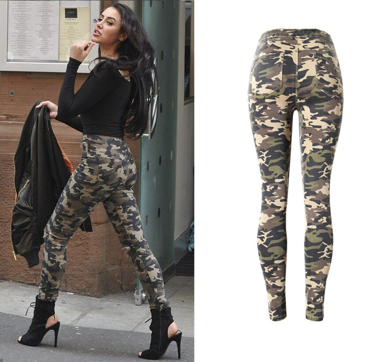 cf1942df445ad 2019 New Fashion Skinny Ripped Jeans Women High Waisted Camouflage ...