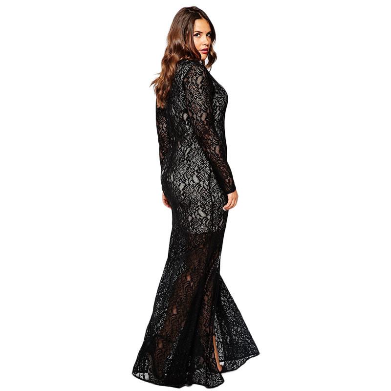 4a42ec9b0a Black Plus Size Women Muslim Clothing 2016 Spring autumn New Fashion Long  Sleeve V-Neck Ruffles Floor-Length Long Party Dresses 3XL-8XL