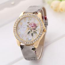 2015 New Fashion Chinese Style Peony Pattern Watch Gilt Digital Quartz Casual Leather Clock Women Dress Cartoon Wristwatch Hot