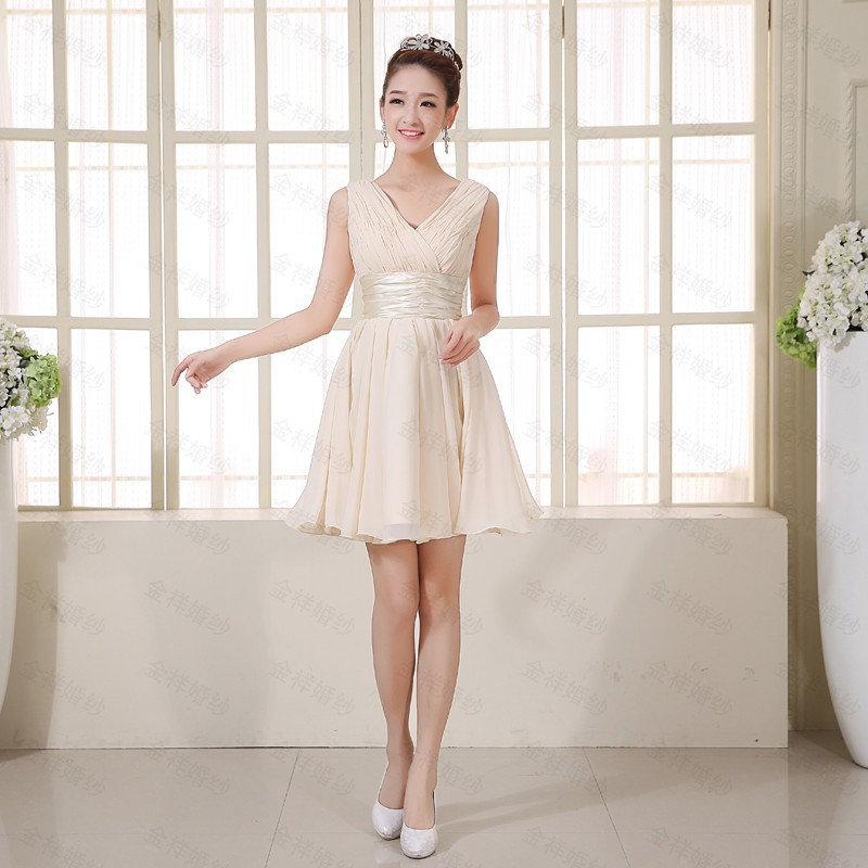 Fashion Champagne Color V Neck Bridesmaid Dresses Elegant