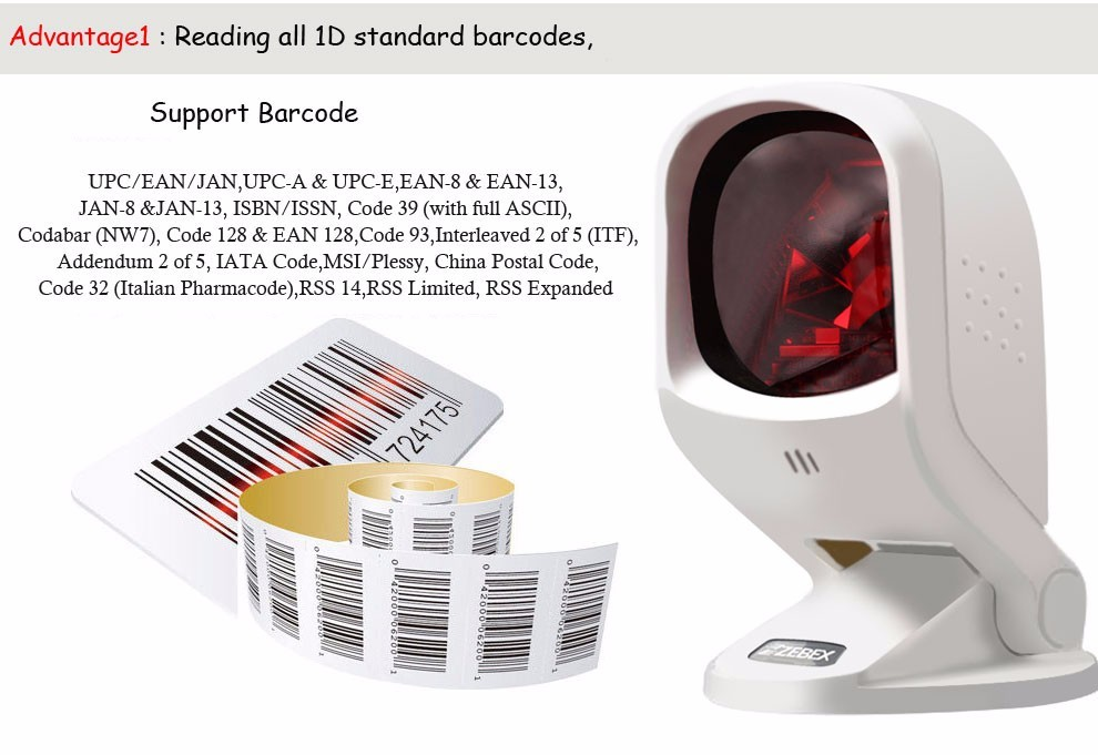 Zebex omnidirectional 1D quality barcode reader dual-laser 20 line scanning  platform for supermarket usb cable connect computer