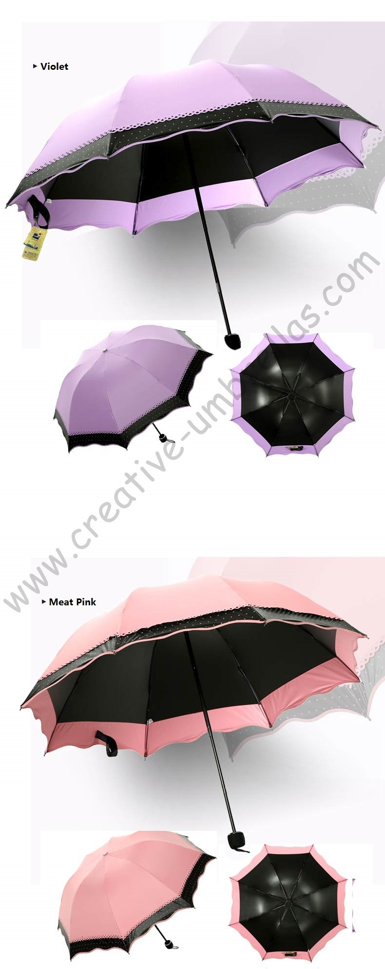 3pc lot colour option summer folding mini sunny umbrella 5 times black  coating Anti-UV fruit green two layers lace parasol - us608 a44f167f63