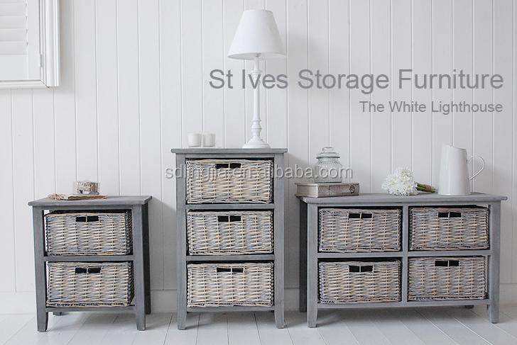 2 Shelf Storage Wicker Basket Unit Grey Desk Organizer