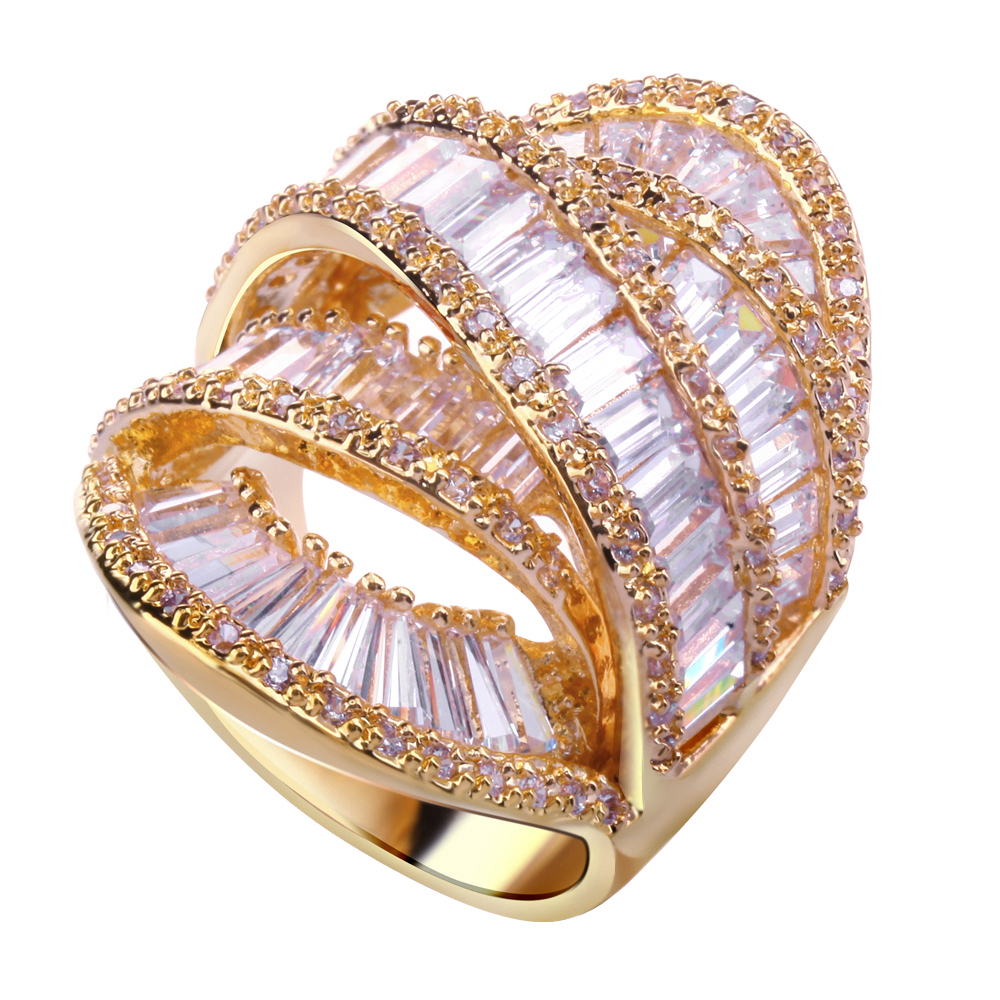 Wedding Rings Gold Plated With Cubic Zircon Stone Lover