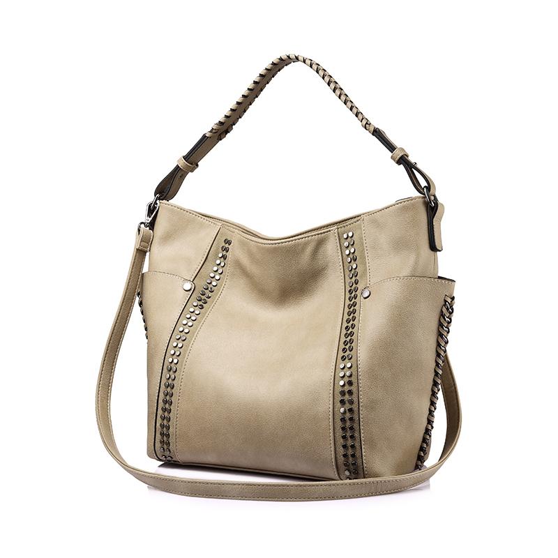 REALER женская сумка с заклепками, женская большая сумка через плечо, модные коричневые кошельки и сумки(Китай)