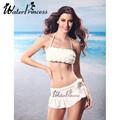 2016 Fashion Type Swim Suits Cute Bikini Skirt Push Up Swimwear Solid Bathing Suits Floral Beach