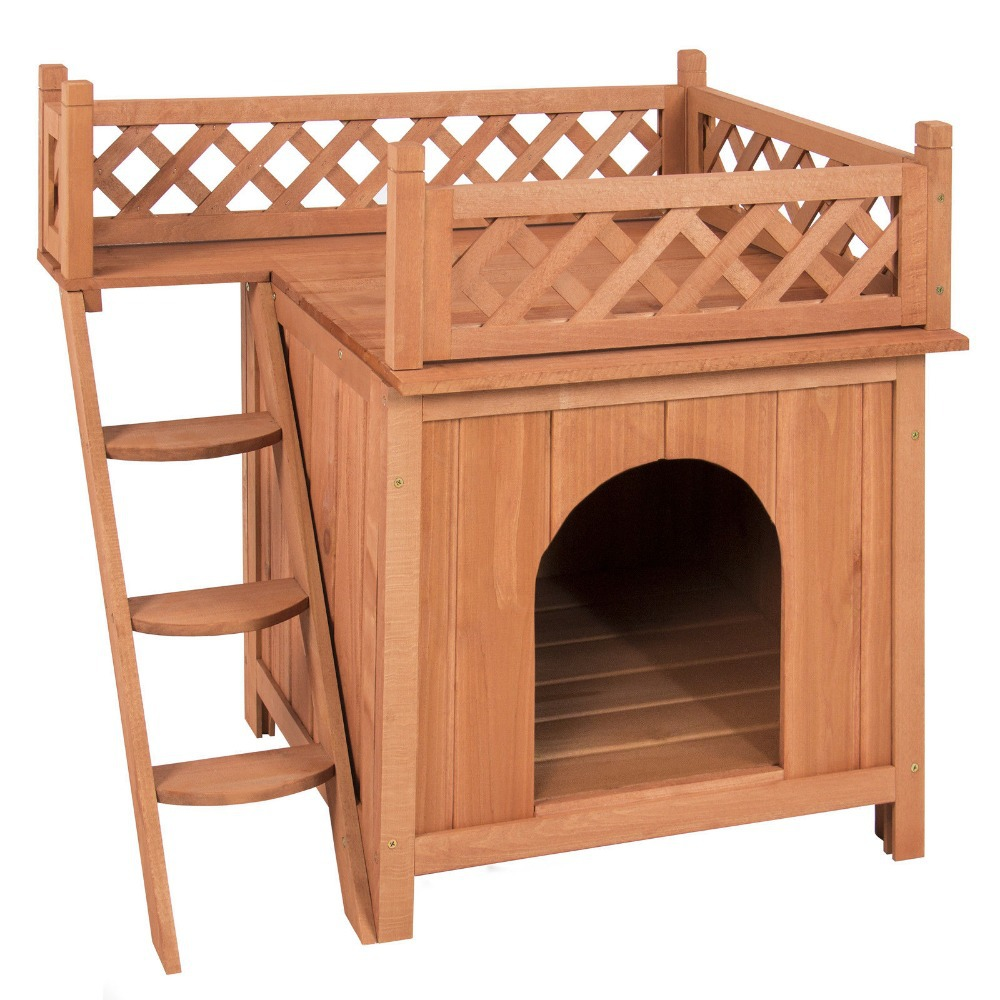 dog house wood room puppy pet indoor outdoor raised roof balcony bed shelter. Black Bedroom Furniture Sets. Home Design Ideas