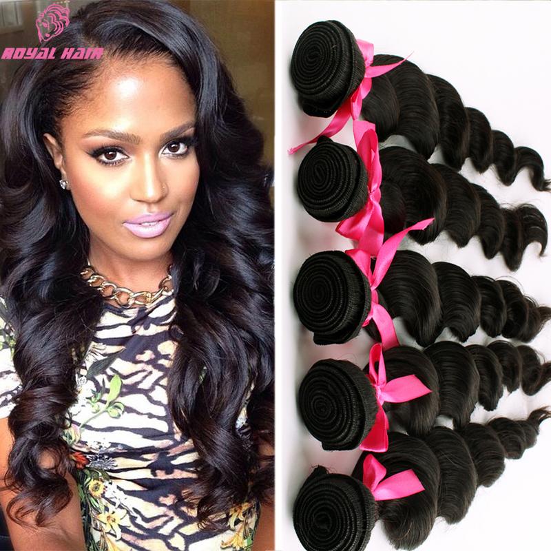 5 bundles Indian virgin hair 7a virgin hair loose wave indian wavy Unprocessed Human Hair Weave