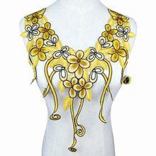 Вышитая 3D ткань, желтая роза, венозная кружевная швейная аппликация, кружевной воротник, воротник, аппликация, аксессуары, 1 шт.(Китай)