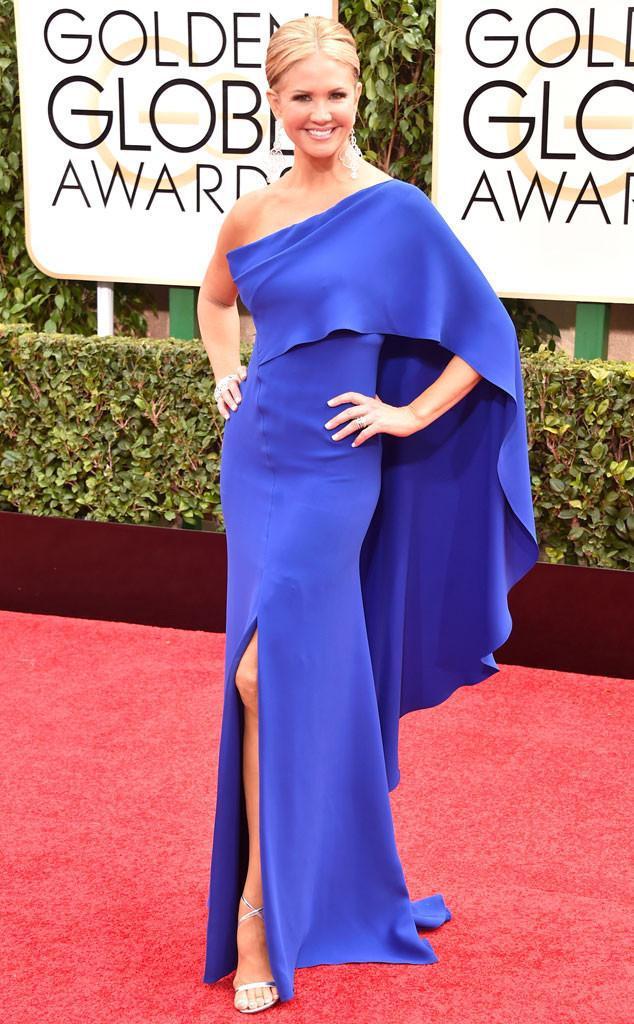 New Arrival Blue One Shoulder Nancy O'Dell 72nd Gloden Globe Celebrity Dresses Slit Column Full Length Prom Evening Gowns