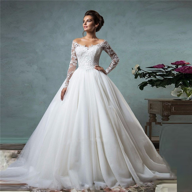 China Long Sleeves Wedding Dress Custom Made Lace Princess: Lace Off The Shoulder Ball Gown Wedding Dresses Long