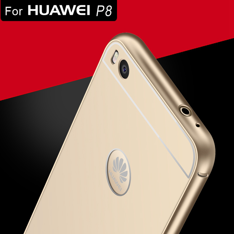 the best attitude 4daf5 ef24d For Huawei P8! 1mm Ultrathin Metal Aluminum + Acrylic Hard Back Case For  Huawei P8 5.2 Accessories Shockproof Armor Cover Shell