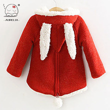 2014 New Children Outwear Girls Winter Lambs Wool Sweater Sweet Cute Girls Coat With Rabbit Ears
