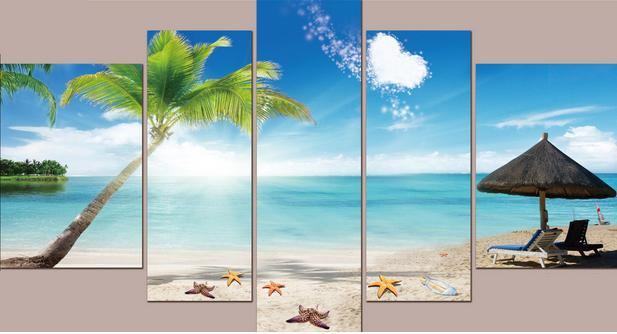 Free shipping Home Decor Canvas framelsee 5 Panel Wall Art Painting of the mediterranean-Wall decoration, sea beach,sunshine