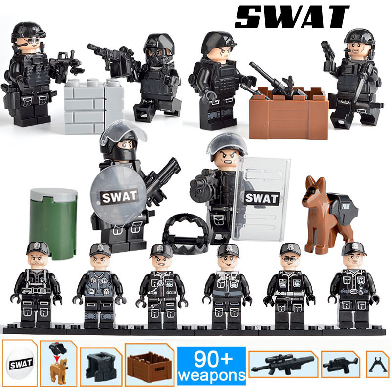 Kitoz 12 шт SWAT The Wraith Assault Armas Ghost Commando фигурки 100 + армейское оружие Строительный Блок Игрушка совместима с lego(Китай)