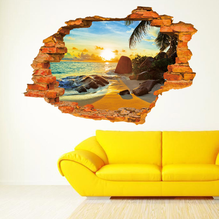 Sun and seaside 3d wall stickers window wall vinyl wall - Removable wall stickers living room ...