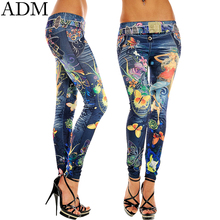 ADM 2015 Fashion Sexy Women Leggings Buttlefly Flower Printed Imitation Jeans Elastic Slim Punk Style Faux Denim Pencil Pants