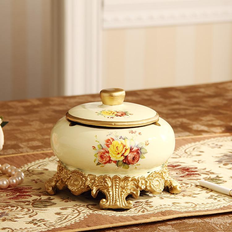 Предлагаем смолы с крышкой пепельница ящик для хранения Домашней Обстановки украшения роскошный Европейский стиль древний сад