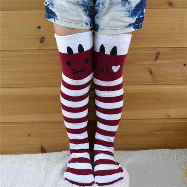 Kids Girls Striped Thigh High Long Over Knee Cat Stripe Print Socks For 1 8Y