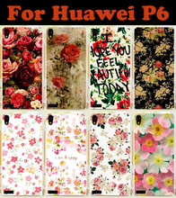 2015 Colorful Rose Peony Flowers Transparent side  mobile cell phone case hard Back cover Skin Shell for Huawei Ascend P6