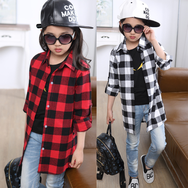 New 2016 Fashion Plaid Clothing For Girls Long Sleeved Tops Clothes Girls Blouse shirts For Girls
