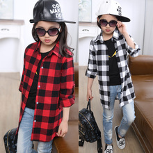 New 2016 Fashion Plaid Clothing For Girls Long Sleeved Tops Clothes Girls Blouse T-shirts For Girls Aged 5-14