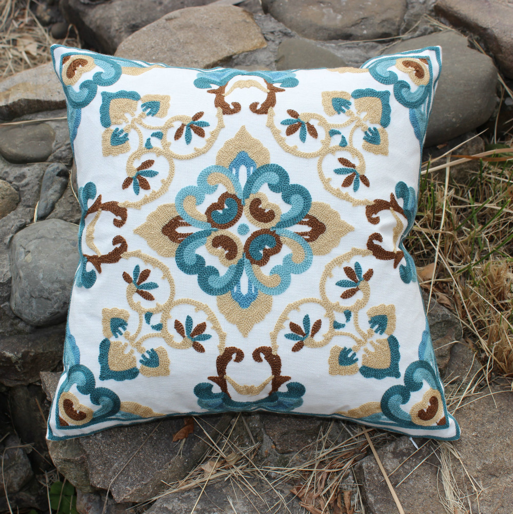 wholesale beige flower embroidery cotton cushions cover throw pillows case cover sofa chair. Black Bedroom Furniture Sets. Home Design Ideas