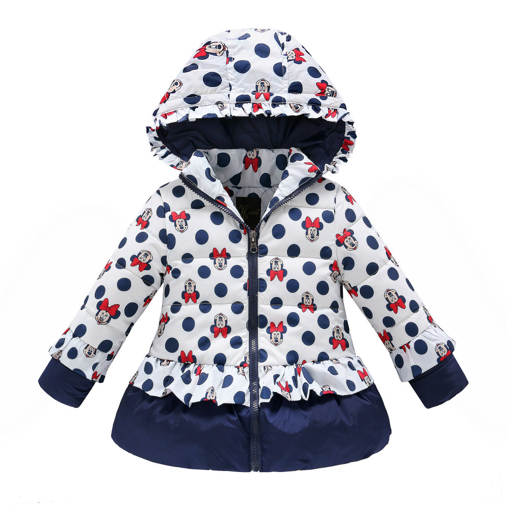 girls winter coat children cute polka dot hooded down jacket outerwear kids girl warm clothing baby