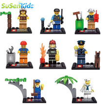 8pcs lot Different City Occupations Kid Baby Toy Mini Figure Building Blocks Sets Model Toys Minifigures