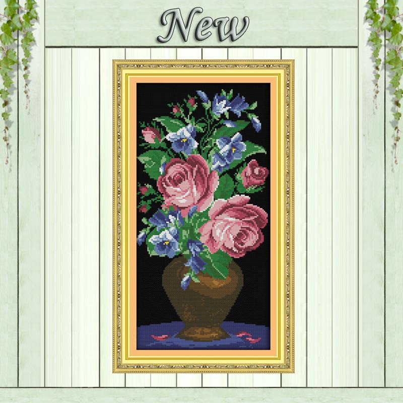 acheter les roses dans un vase en verre motif imprim sur toile dmc 11ct 14ct. Black Bedroom Furniture Sets. Home Design Ideas
