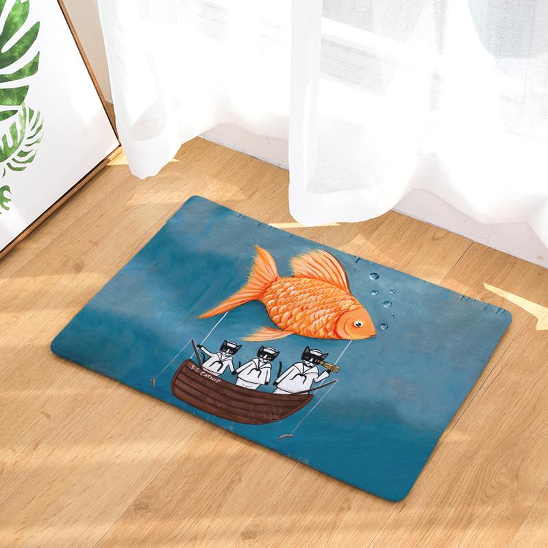 Cartoon Flannel Carpet Cat Daily Printing Mat For Living Room 40x60cm  50X80cm Door mat Rectangle Tapete - us91 23aa3e54b849e