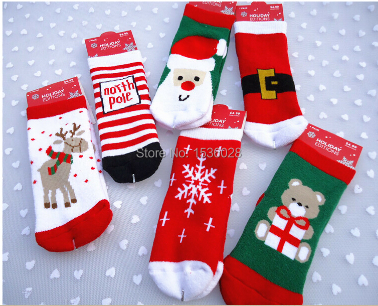 1 2Years New 6pair lot accept buy 1pair Cotton Cute Christmas Theme Baby sock slip resistant