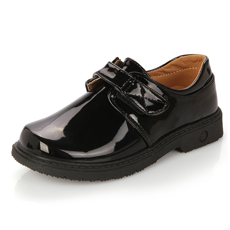 2015 child single shoes male child shoes black white big boy shoes japanned leather solid color