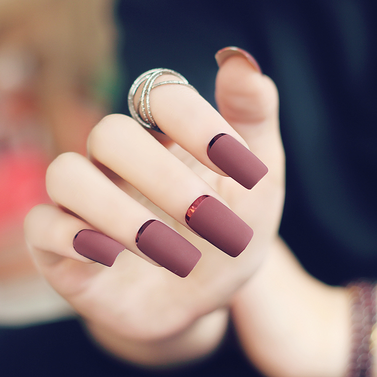 Nail Art Designs 2016 Hd Widescreen Pics: 2016 New High Quality Brown Red Matte Metal Manicure