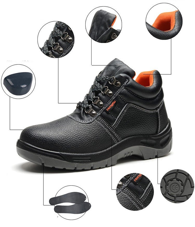 54d797729f5 2016 Solid breathable anti-odor safety shoes male work shoes steel toe cap  covering wear-resistant oil ankle men boots