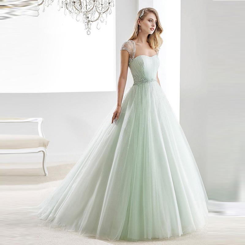 Wedding Gowns With Cap Sleeves: 2016-Wedding-Dresses-Beaded-Sheer-Cap-Sleeves-Sweetheart