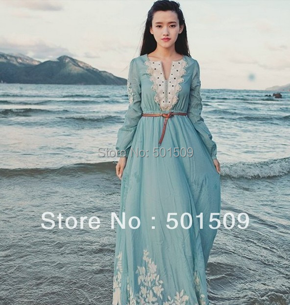 Medieval Renaissance Light Blue And White Gown Dress: Light Blue Lace Embroidery Fullsleeve Long Medieval Dress