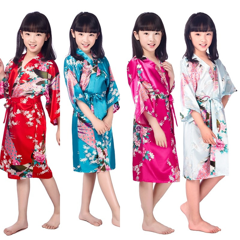 Wholesale- B1686 Kids Flower Wedding Stain Robes For Girls Floral ... 6b381c160