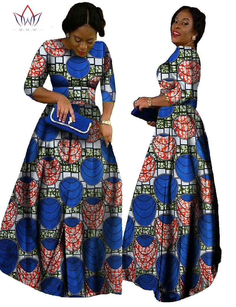 2017 African Ankara Dresses African Traditional Dresses Custom African  Clothing Vintage Ball Gown Three Quarter Sleeve BRW WY516 43bb417493dc