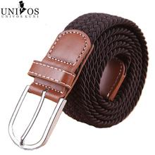 2014 New Fashion Elastic Waistband Woven Canvas Belt Men Women Wild Casual Belt Buckle Korean Strap T173