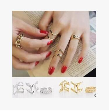 Free shipping Hot style European and American fashion punk wind hollow arrow 3 piece ring