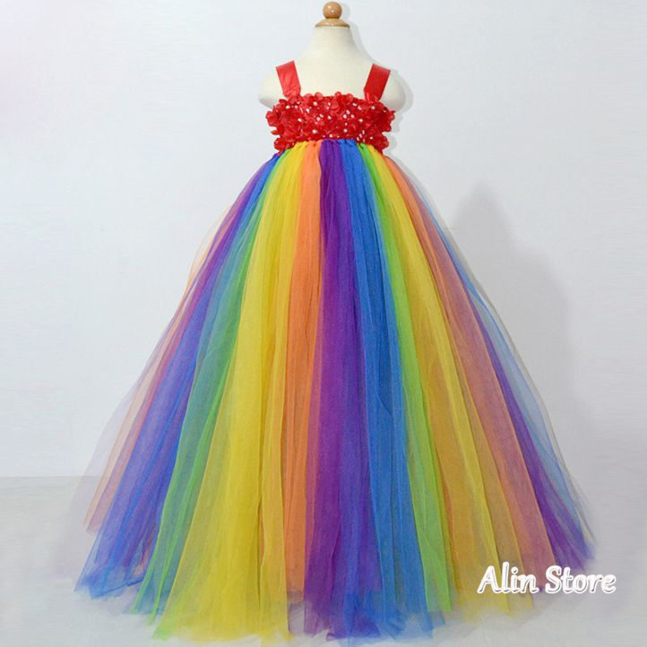 2 7 Year Rainbow Floor Length Flower Girl Tutu font b Dress b font font b