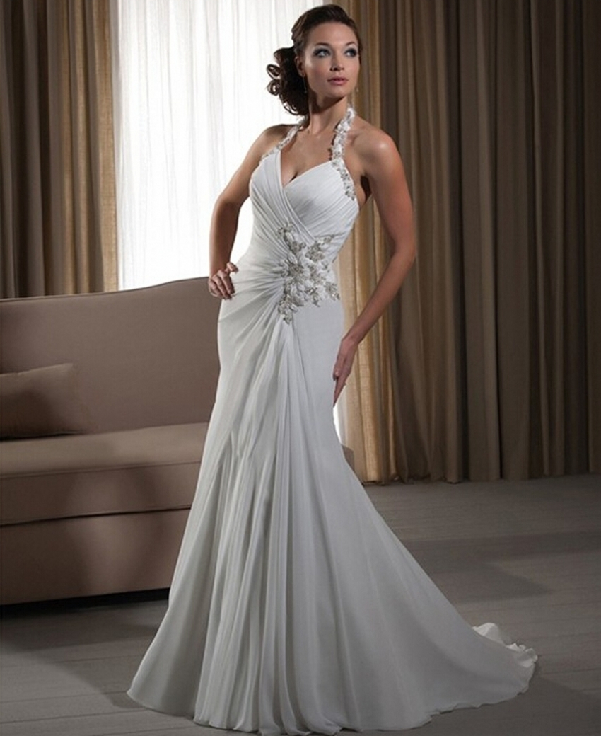 Wedding Gowns Online Cheap: Vintage Women Simple Chiffon Backless Cheap Mermaid