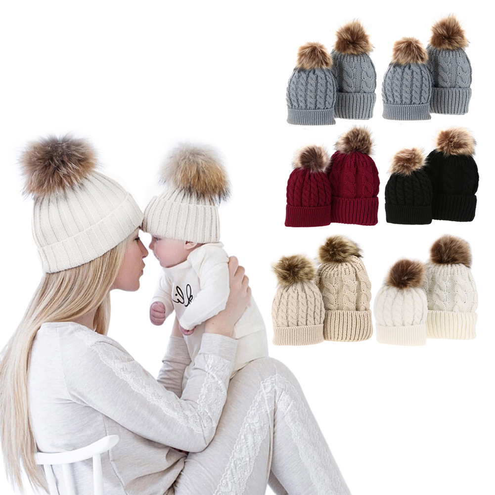 Detail Feedback Questions about 5Colors Mom And Baby Hat with Pompon Warm  Raccoon Fur Bobble Beanie Kids Cotton Knitted Parent Child Hat Winter Caps  Xmas ... 3b92293db1f